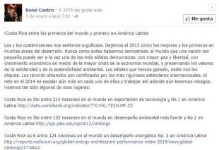 En un posteó de Facebook en enero anterior, René Castro destacó la posición del país en el EPI 2012. Tomada de Facebook