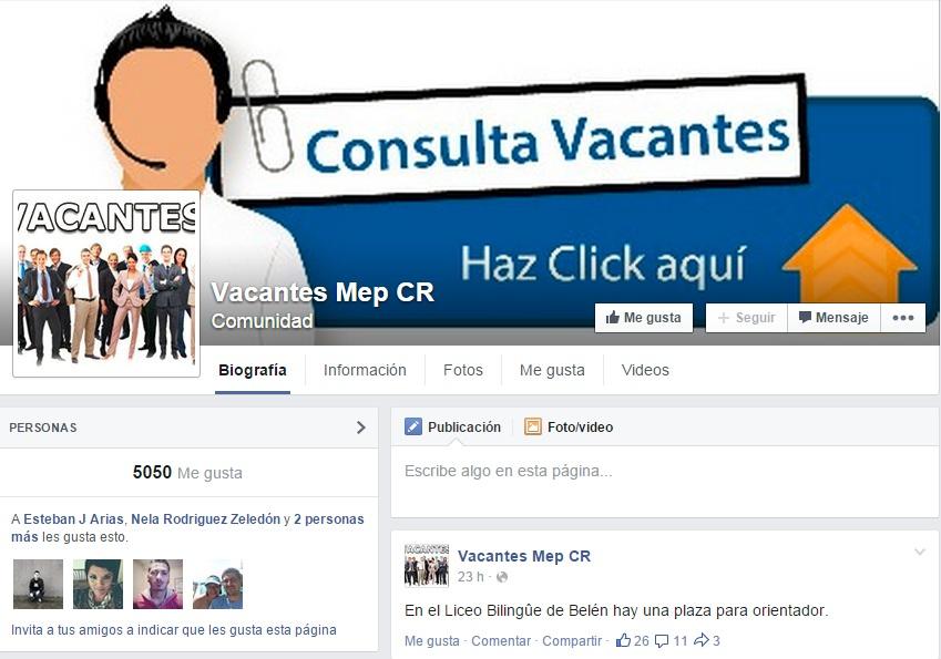 Anuncio en redes sociales sobre puestos vacantes para for Vacantes para profesores